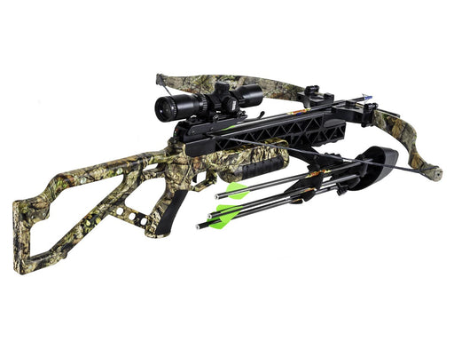 Excalibur G340 BUC Crossbow PKG, with three arrows, a deadzone scope and a waterproof recurve.