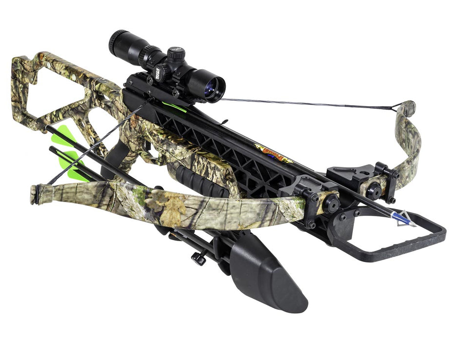 Arrow loaded G340 BUC Crossbow PKG from Excalibur with forest camo accents and a dead zone scope.