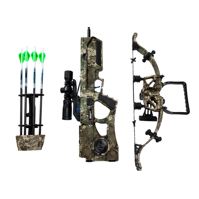 "top down view of the proflight 16.5"" premium arrows, the side of the assassin 400td barrel with tact-100 scope and the recurve limb with string all in forest camo"
