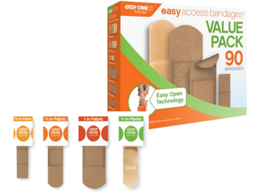 Easy Access Bandages Value pack of 30 bandages Product box with each size of bandage.