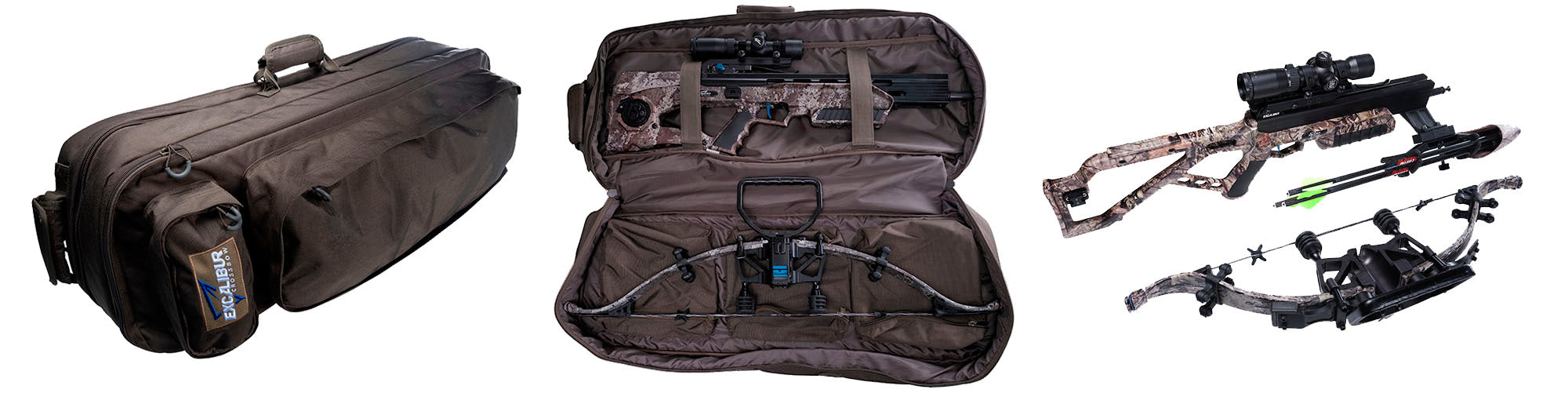 Excalibur crossbow case closed on the left in olive green, the case open with the assassin 420 td crossbow securely stored in the middle and the assassin 420 TD deconstructed on the right