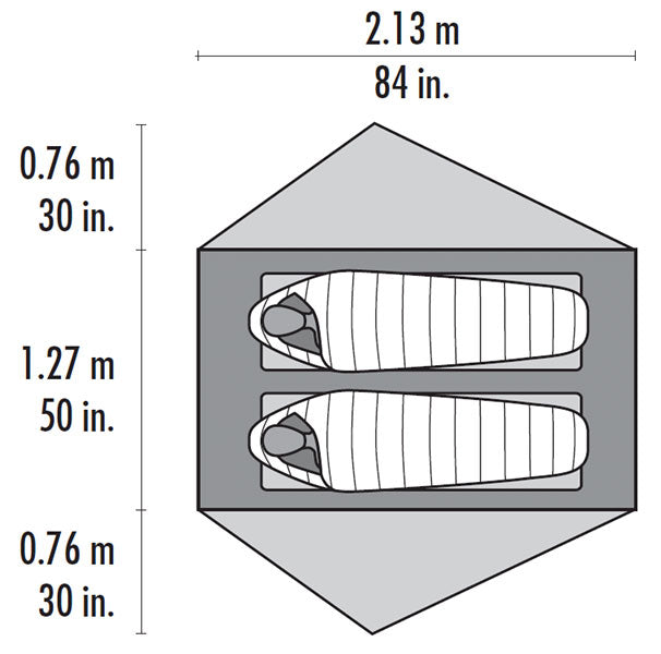 Dimension diagram for the Freelight Ultralight Backpacking 2 person tent. 84in x 50in