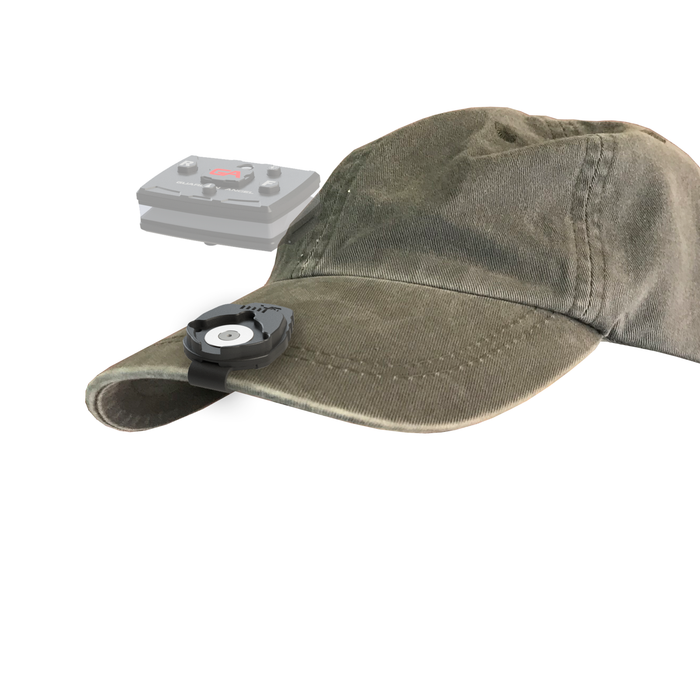 A Guardian Angel Safety light mounted on a hat brim using a magnetic clip.