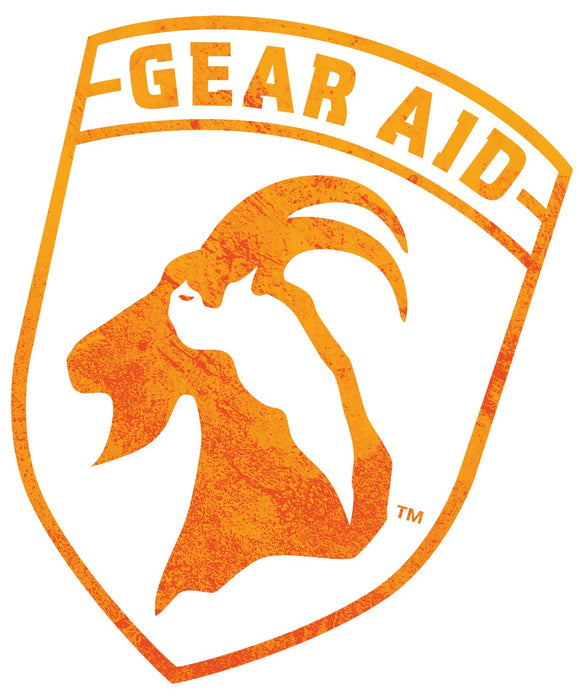 Gear Aid Logo emblem with a design of a mountain goat in orange.