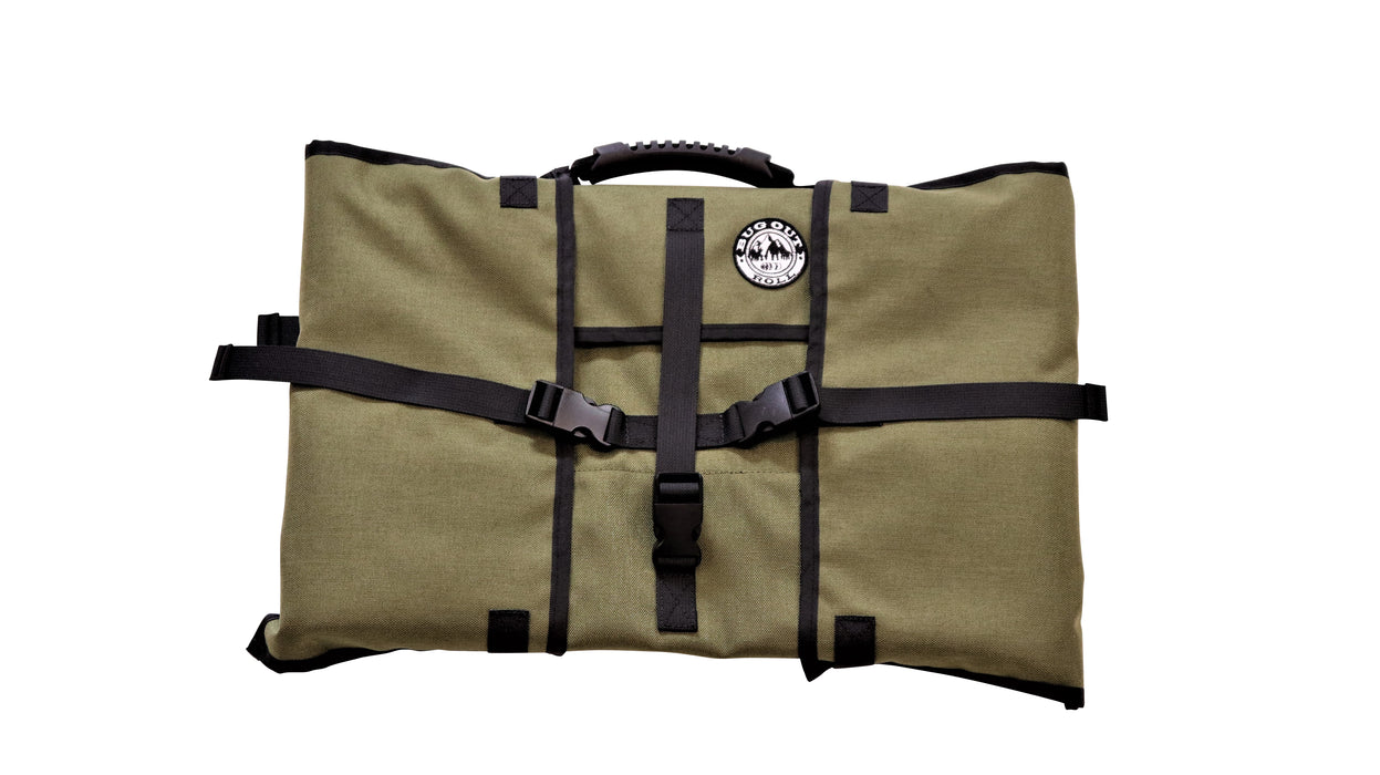 Front of the Olive coloured Bug Out Roll with black plastic clips, straps and a black rubber top handle.