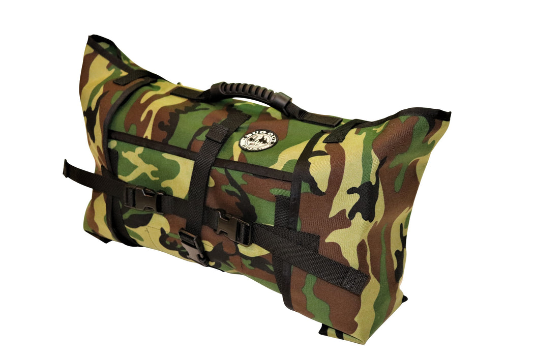 Forest Camo Bug Out Roll with 1 Main section, 1 Vinyl Mod, and 1 Cordura Mod. The pack is securely closed with its durable plastic clips and the hard rubber handle is visible on top of the bag.