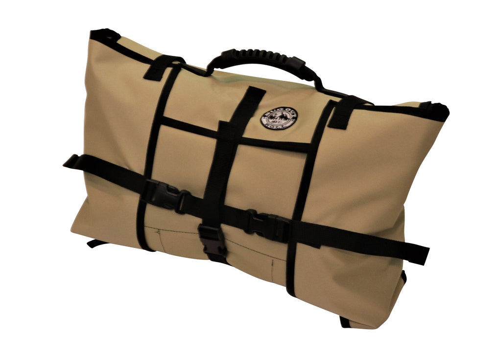 Desert Khaki coloured Bug Out Roll with the black clips locked and hard rubber handle grip on top of the bag.