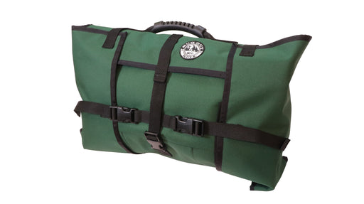 Forest Green Bug Out Roll includes Main section, Cordura and Vinyl Mod, and 1 Cordura Mod. The pack is securely closed with its durable plastic clips and the hard rubber handle is visible on top of the bag.
