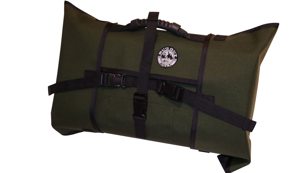 MILSPEC OLIVE DRAB Bug Out Roll with 1 Main section, 1 Vinyl Mod, and 1 Cordura Mod. The pack is securely closed with its durable plastic clips and the hard rubber handle is visible on top of the bag.