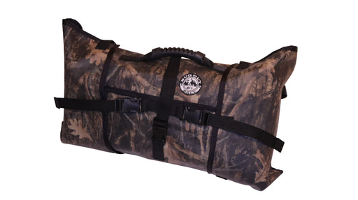 Front of the Realtree coloured Bug Out Roll with black plastic clips, straps and a black rubber top handle.