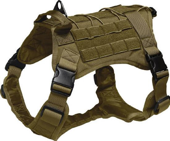 Mil-Spex K-9 Tactical Molle Dog Vest in Olive colour. The 4 quick detachable straps are shown.