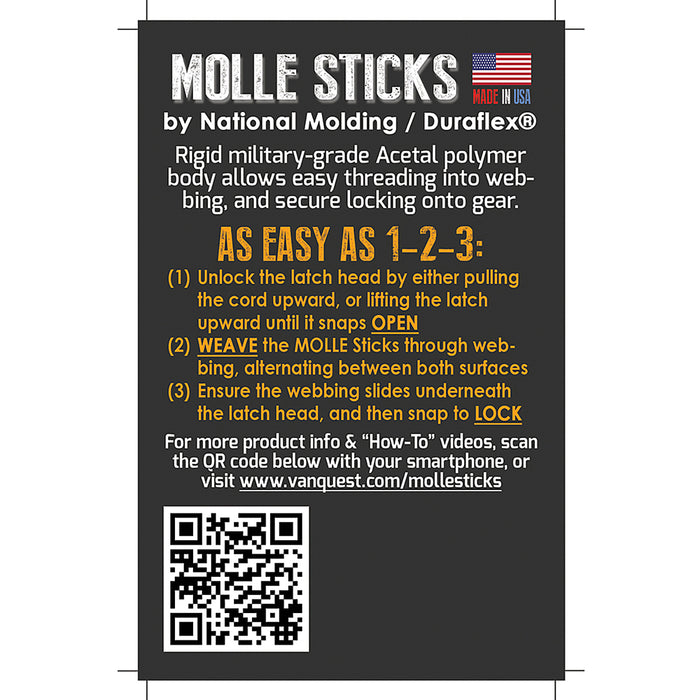 "Vanquest 5"" MOLLE Sticks 4 Pack (SELECT COLOR)"