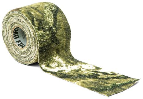 A roll of Mossy Oak designed Camouflage on a white background.
