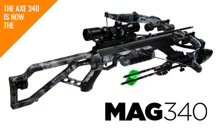 'The AXE 340 is now the MAG340' The crossbow is shown with two arrows and the MOBUC camouflage.