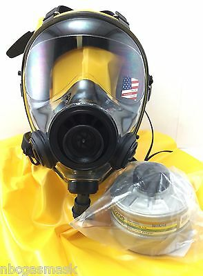 Hooded SGE 400/3 Full Face mask with packaged repiratory face mask. The pvc hood is in yellow and the mask in black.