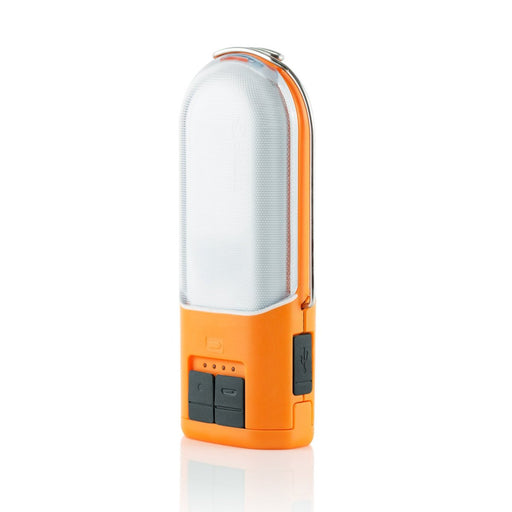 Front of the Biolite PowerLight 250 Lumen Lantern & USB Power Hub with usb charge in and out ports with water proof seals. The lamp is coloured with an orange accent and the light is a clear plastic.
