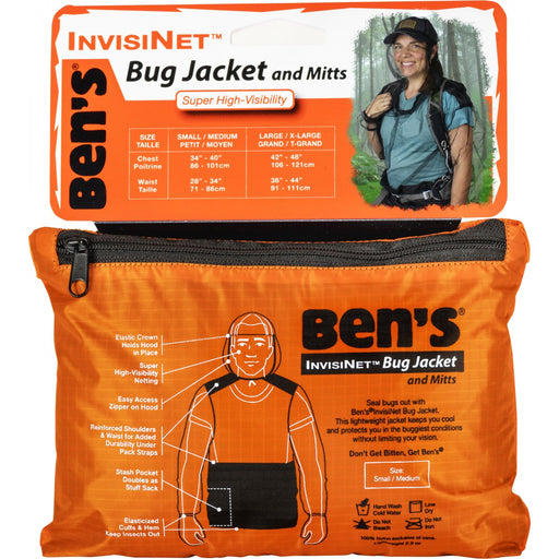 Front view of the zippered bag of Ben's® InvisiNet Bug Jacket & Mitts with descriptions: 'Bug Jacket and MItts' 'Invisinet' 'Ben's.'