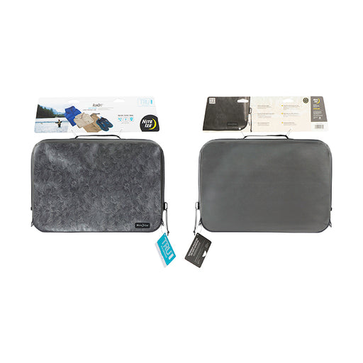 Nite-ize fully waterproof packing cubes in grey and a feather design. Both packing cubes have top handles, on a white background.