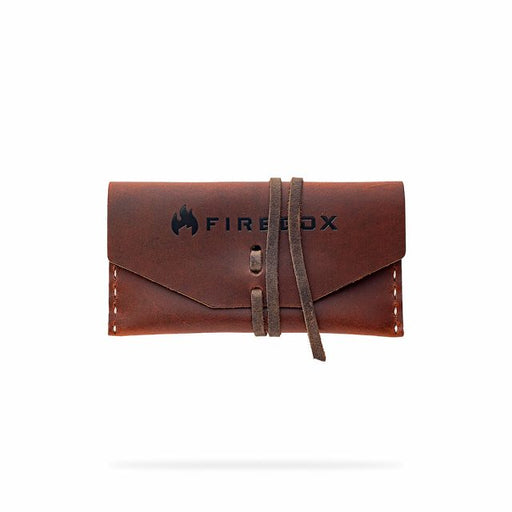 Fire Box Nano Leather Case with leather strap. The Firebox logo is written across the front.