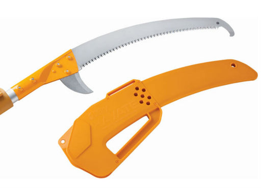 Silky Hayate Extending Pole Saw head and fine teeth blade with hard durable orange plastic sheath.