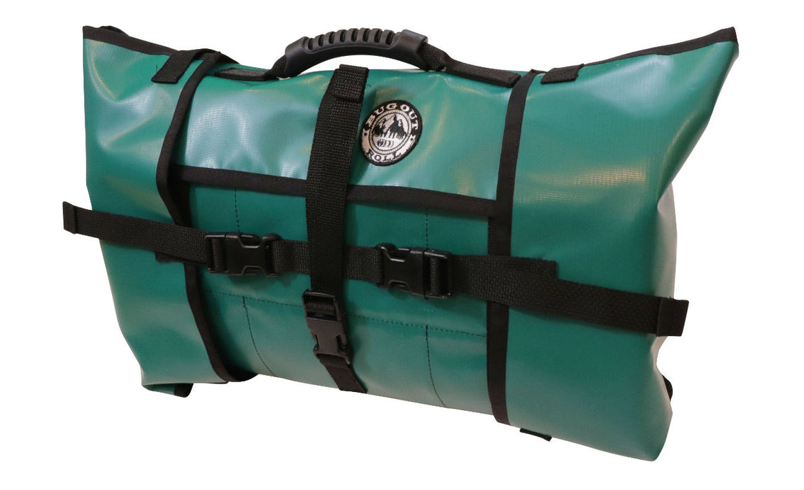 A green non-modular Bug out roll Packroll with a black rubberized handle, black heavy duty plastic clips, and the bug out roll emblem stitched to the top front of the bag.
