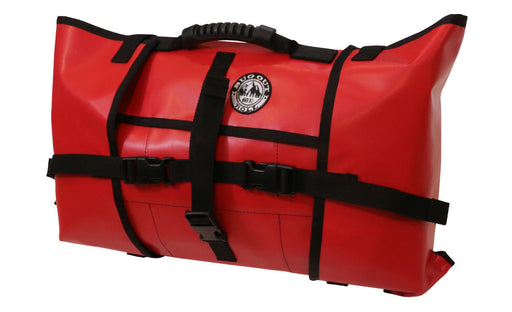 Non-modular PackRoll Bug out roll in First Aid red. The handles, clips and straps are all in black.