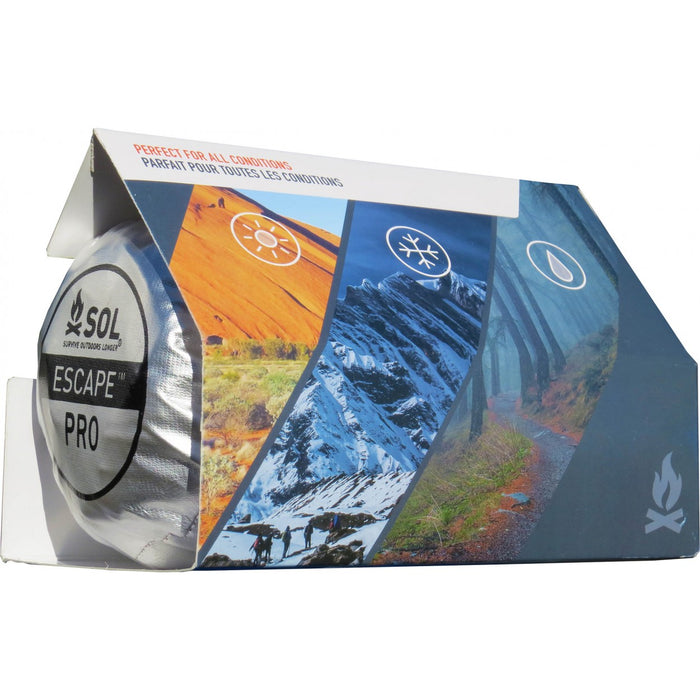 SOL Escape Pro Bivy product packaging with images of the summer, winter, and fall seasons.