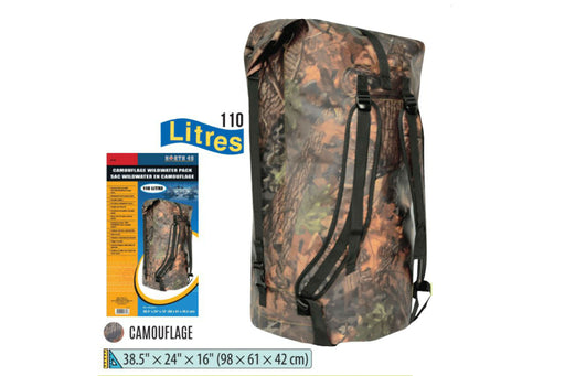 "The Wildwater Waterproof Backpack 110 Liters bag in woods camouflage beside the product box wih the logo 'North 49' printed in the top right. The dimensions are listed: 38.5"" x 24"" x 16"" (98 x 61 x 42 cm)."