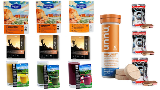 3 Day Emergency Freeze Dried Food supply and hydration Tablets. Backpackers pantry, alpineaire, arkopia smoothies, astronaut ice cream sandwiches and nuun tablets.