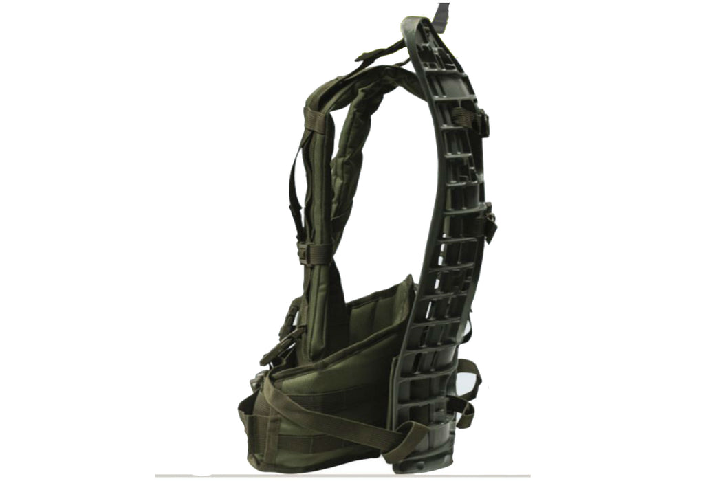 The forest green External frame harness of the MilSpex M.O.L.L.E Backpack frame.