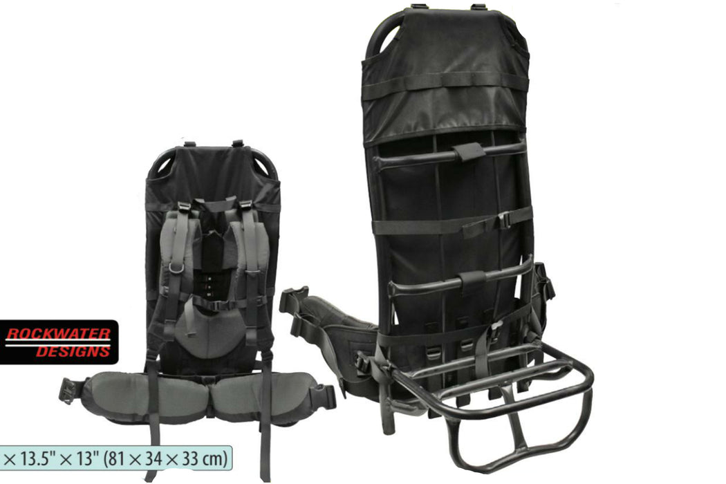 Hauler Hiking Pack Frame by Rockwater Designs in black. The pack frame has a seat for your bag or gear and a bottom compartment for a sleeping bag. The inside is padded and so are the shoulder pads.