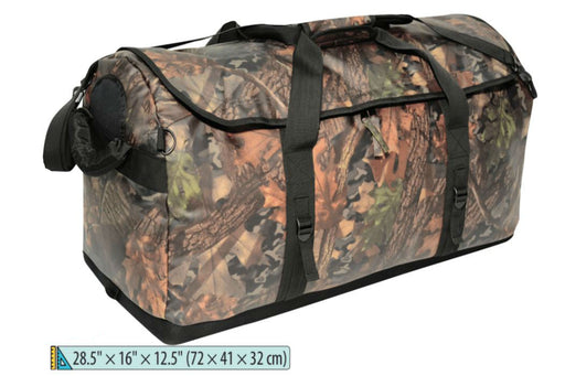 Side view of the Camouflage Marine Duffle bag in Forest Camo. The heavy duty side strap is shown on the left and the top straps are brought together using a velcro wrap.