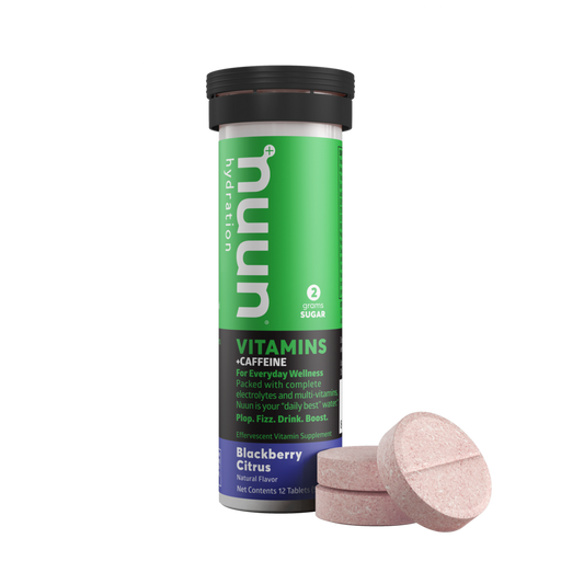 Nuun Hydration Vitamin tablets with Caffeine in Blackberry Citrus Flavor. Three of the large red coloured tablets sit beside the case in green, white, black and blue.