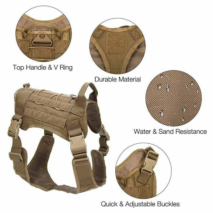 The water and sand resistant material of the MilSpex K-9 tactical dog vest in olive colour on a white background. Water is shown trickling down the material.