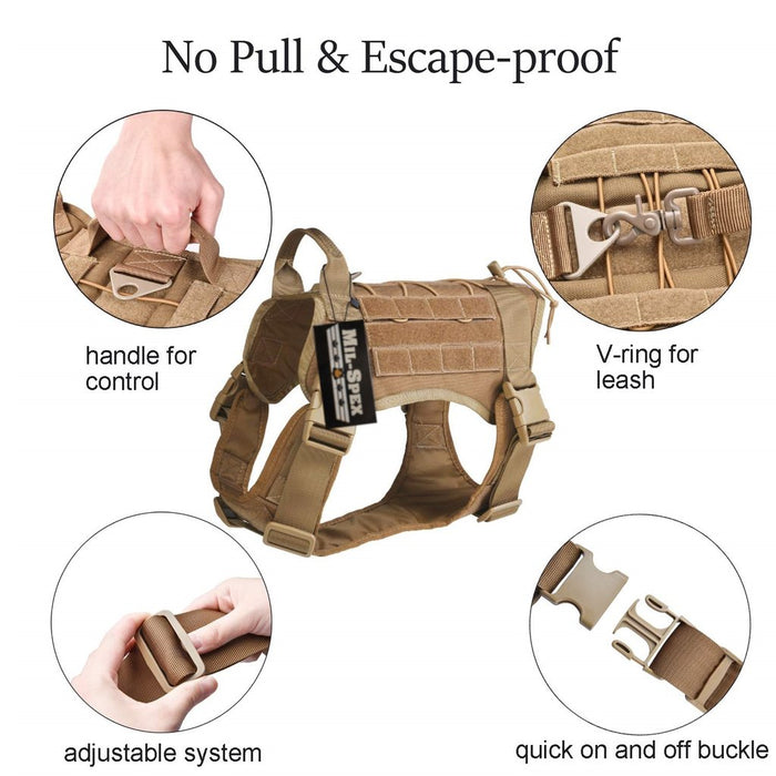 the harness of the Milspex K-9 Tactical Molle Dog vest with the handle for controling the animal, v-ring for attaching a leash, adjustable clips, and quick on/off buckles.
