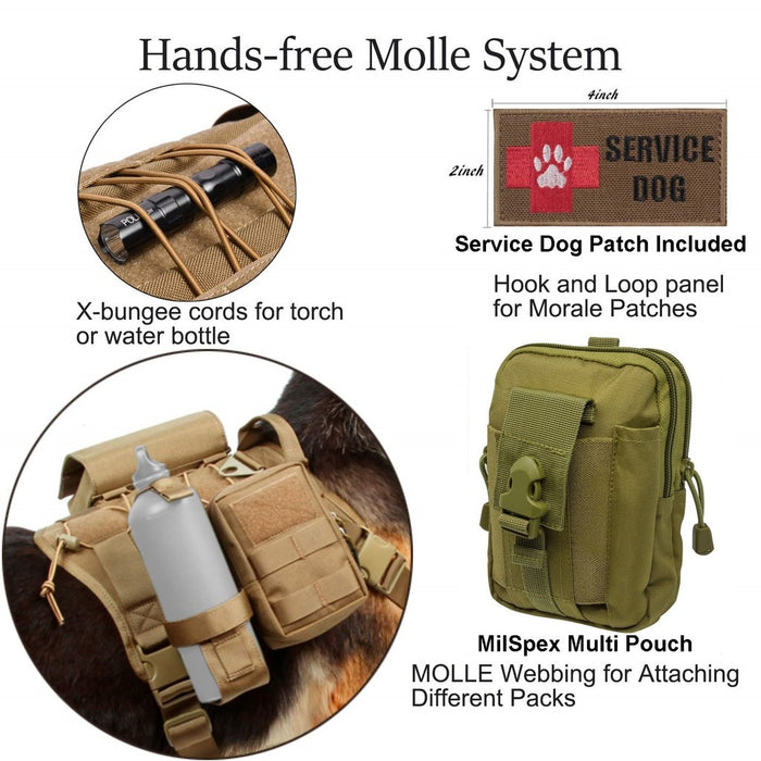 Diagram of the Hands-Free Molle dog vest system. The X-bungee cords for a water bottle or flashlight, the service dog branded patch, the water bottle holder and milspex webbing for attaching packs like a first aid kit.