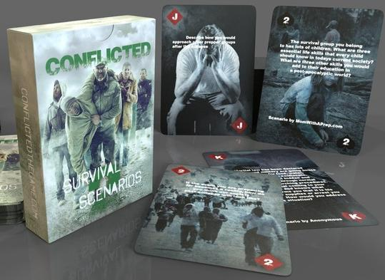 The playing card box of the Conflicted Deck 2: Survival Scenarios with 4 playing card examples laid beside the card box.