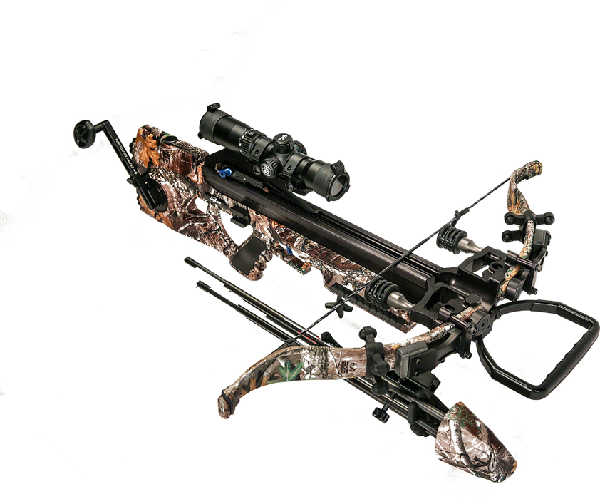 side view of the assassin 420 td with silent crank, quick loc technology, re-curve bow and tact-100 illuminated scope in forest camo
