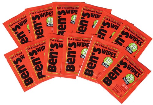 12 packages of Ben's® 30 Tick & Insect Repellent Wipes side by side with black bold lettering and orange coloured packets.