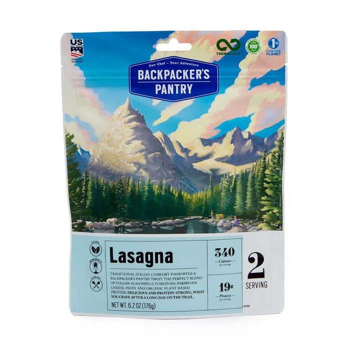 Front cover of the Backpackers Pantry: Vegetable Lasagna freeze dried package with descriptions: 'lasagna' '340 calories' '19 grams of protein' '2 servings.'