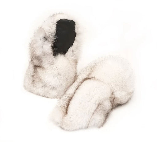 Two white furred Ladies Blue Fox Fur Mitts side by side, one of the mitts exposing the leather palm.