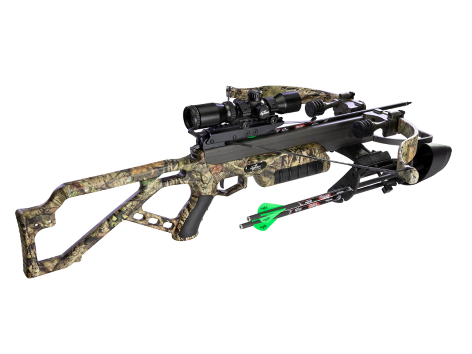 Micro AXE340 Buc Crossbow in a woodland camouflage, with two arrows in the quiver and the highend hunting scope in black. The recurve is designed with the woodland camouflage.