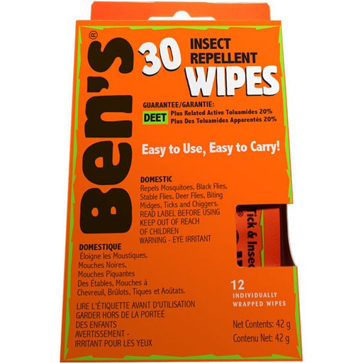 Front view of a Box of Ben's® 30 Tick & Insect Repellent Wipes. Descriptions 'ben's 30 Wipes' 'Easy to Use, Easy to Carry' 'DEET Guarantee' and '12 Individually Wrapped Wipes.' The box is an orange coloured rectangle.