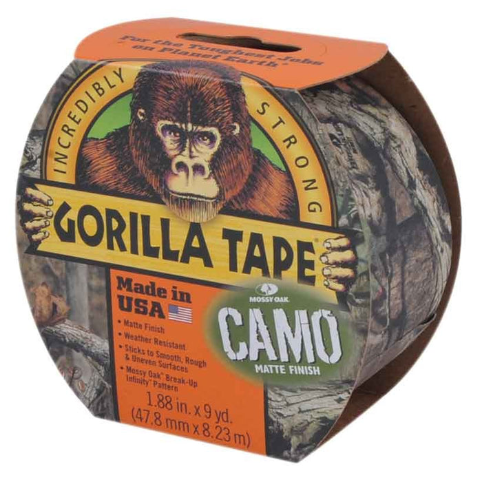 Gorilla tape in Matte Camo product package witht he description 'Made in USA' and 'sticks to smooth, rough & uneven surfaces'.