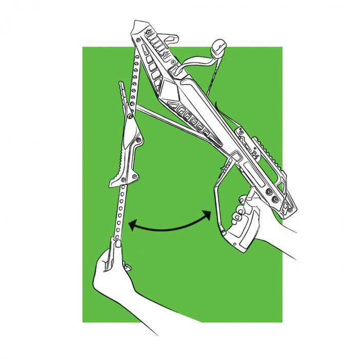 A diagram of the Cheap Shot 130 crossbow being fast reloaded. A persons left hand holds the chamber open to reload a bolt arrow, while the other hand is on the bow handle.