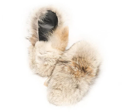 Mens Coyote Mitts with a Sheepskin liner showing on the left glove.