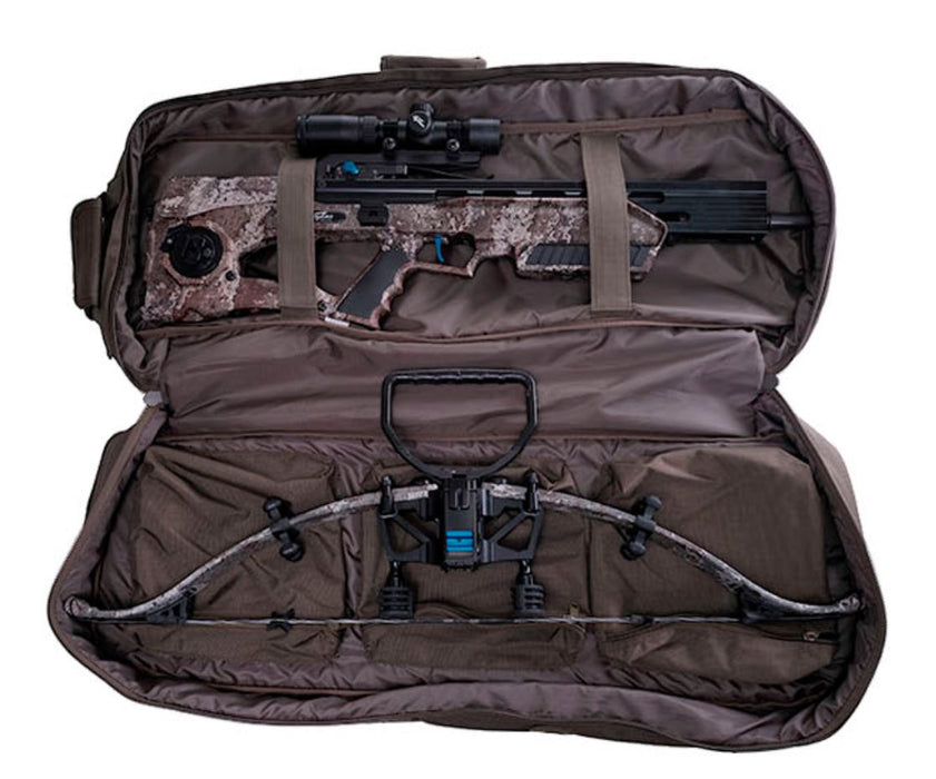 Exaclibur crossbow bag depicting how to properly store a recurve crossbow in olive green and forrest camo