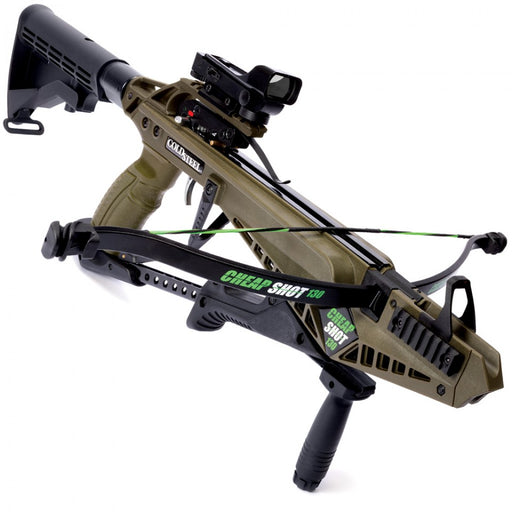 The Cold Steel Cheap Shot 130 Crossbow in olive color. A reflex scope and front grip are shown attached to the crossbow. The 'Cheap Shot 130' logo is printed on the barrel and the recurve.