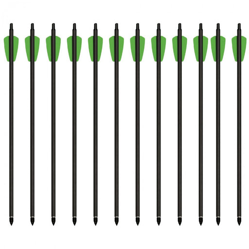 All 12 Cheap Shot 130 compatible Bolts in a row with green tips, a black arrow on a white background.