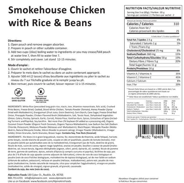 AlpineAire Foods Smokehouse Chicken with Rice & Beans